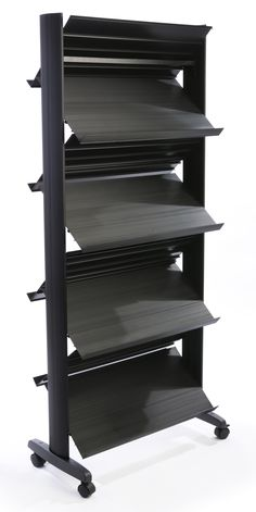 8-Pocket Literature Stand with Wheels, Adjustable Pockets - Black