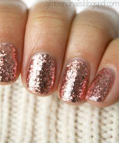 Rose gold sparkle nail polish