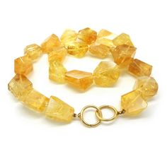 ORRO Contemporary Jewellery Glasgow - ORRO - Gold Citrine Necklace - Gold Citrine - 18ct yellow gold clasp - Hand knotted on silk