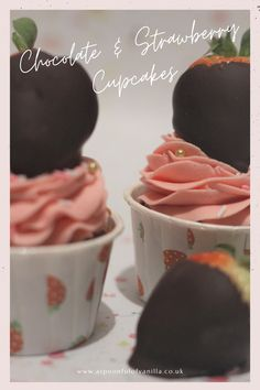 Chocolate Strawberry Cupcakes, Strawberry Cupcake Recipes, Strawberry Buttercream, Chocolate Buttercream, Vanilla Cupcakes, Chocolate Covered Strawberries, Buttercream Decorating, Pink Food Coloring, Graduation Cupcakes
