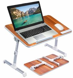 Neetto TB101L Adjustable Laptop Bed Table, Portable Standing Desk-Laptop Stands For Bed