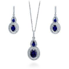 Silver Oval Simulated Sapphire CZ Halo Bridesmaids Necklace Earrings... ($83) ❤ liked on Polyvore featuring jewelry, earrings, sets, sapphire, women's accessories, silver jewelry, silver earrings, cz pendant, sapphire earrings and sparkly earrings