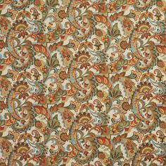 Aqua Brown Red Multicolored Contemporary Paisley Floral Woven Brocade Upholstery Fabric