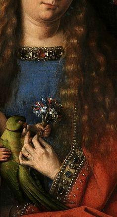Jan van Eyck-Madonna del canonico van der Paele(dettaglio), 1436, olio su tavola, 141x176,5 cm, Bruges, Groeningemuseum A sinistra si trova san Donato, titolare della chiesa, abbigliato con un ricco pallio, la mitria, il bastone pastorale e un candelabro con la candela accesa, simbolo dell'offerta cristiana; a sinistra invece si trova san Giorgio, con l'armatura, patrono del canonico che si trova inginocchiato accanto a lui, mentre fa un gesto di presentazione alla Vergine .