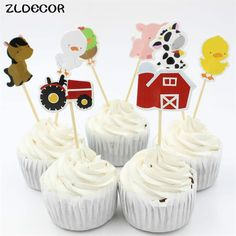 GBP - Craft Farm Animal Party Cupcake Toppers Picks For Kids Birthday Party Favors & Garden Farm Animal Cupcakes, Farm Animal Party, Farm Animal Birthday, Farm Birthday, Barnyard Party, Party Favors For Kids Birthday, Birthday Parties, Birthday Bash, Birthday Ideas