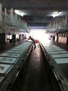 hand screen printing workshop in Delhi, printing for Aura Homewares.