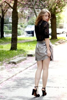 Silver Linings ( Metallic Skirts & Lace Sweaters )