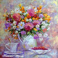 """Oil painting   Картины цветов ручной работы. Ярмарка Мастеров - ручная работа. Купить """"Летний Завтрак"""" картина маслом с цветами. Handmade."""