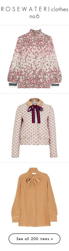 """""""R O S E W A T E R   clothes no.6"""" by ms-perry on Polyvore featuring tops, pink, flower print top, floral tops, pink floral top, colorful tops, multi color tops, outerwear, jackets и gucci"""