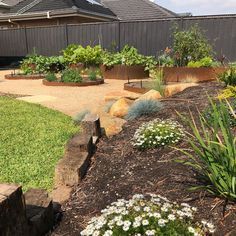 Circular corten steel tubs create a lovely decorative element to the garden.Honey limestone rocks,recycled timber and gravel add to the charm. Landscape Design Melbourne, Limestone Rock, Vegetable Garden Design, Corten Steel, Outdoor Gardens, Modern, Recycling, Vegetables, Plants