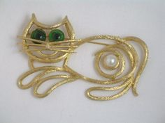 Meow :) Huge Signed Weiss Cat Brooch