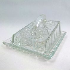 English Vintage Glass Cheese Dish 1950s $24