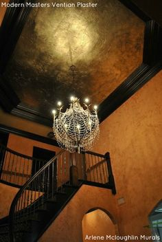 Modern Masters Venetian Plaster and Texture Effects on 2 story foyer walls | By Arlene Mcloughlin Murals | Modern Masters Cafe blog