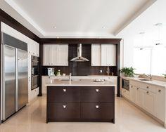 The Lotus - contemporary - kitchen - montreal - Tendances Concept Kitchen Interior, Kitchen Design, Two Tone Kitchen, Fancy Kitchens, White Cabinets, Dark Wood, Double Vanity, Lotus, Contemporary