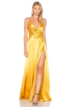 JILL JILL STUART Wrap Gown in Gold Gold Satin Dress 91ce50d16