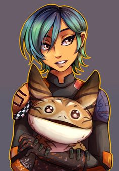 """ibahibut: """"Sabine-chan & lothal cat. Damn, i love lothal cat soo much!! HALP! finally got something to draw after 2 weeks struggling with artblock & learning with new wacom intuos expresskey. plus, 1 week of fever ayy~ thanks fever. appreciate it! """""""
