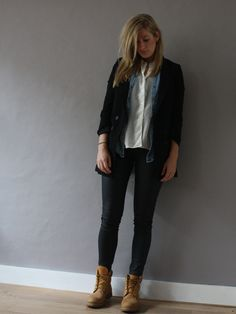 Liking the timberlands!! outfit for work 2013 - ir a obra y a la oficina