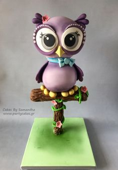 Lilac Owl on a Perch Cake by Samantha Potter