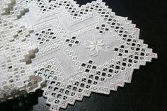 Hardanger Table Runner, white on white via Etsy