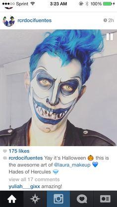 Hades makeup Halloween Looks, Halloween 2015, Disney Halloween, Halloween Makeup, Halloween Party, Halloween Ideas, Halloween Costumes, Hercules Costume, Hades Costume
