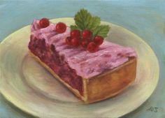 Marion Stephan - Ein Stück Johannisbeerkuchen 2, #marionstephanfineart, #cakepainting, #cake
