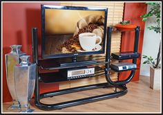 Black Tubular Plasma Tv Stand Material: Silver Powder coated with glass Dimensions: L 1950 x D 500 x H Colour: Black with Clear glass - cheap mattresses, affordable lounge suites Plasma Tv Stands, Cheap Mattress, Lounge Suites, Colour Black, Color, Mattresses, Clear Glass, Powder, Kitchen Appliances