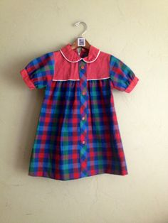 Vintage Red Plaid and Polka Dot Dress Girls Size 5