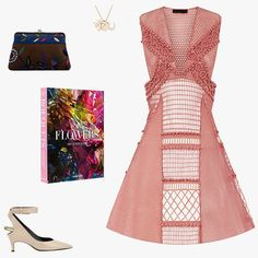 Helen Ficalora Equestrian Dream necklace, $925, helenficalora.com; Burberry sleeveless patchwork lace dress, $2,795, neimanmarcus.com; Tom Ford heels, price upon request, for information: editorialist.com; Flowers: Art & Bouquets by Sixtine Dubly, $85, assouline.com; Emilio Pucci 1960s brown and blue velvet clutch, $450, 1stdibs.com