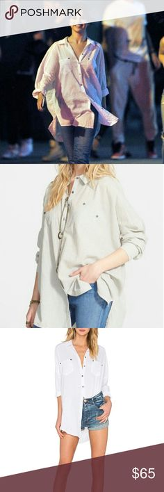 Free People Oversized Boyfriend Crinkle shirt Sz L, white. I've worn it once. Fully button front. Same as on Selena Gomez. I'm also listing one in M, coral color. Free People Tops Button Down Shirts