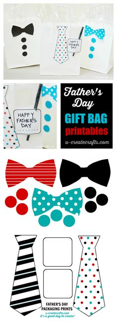 Father's Day Gift Printables. Attach these to your fathers day gift bag for a cute dressed up gift idea.