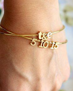 Date Bangle Bracelet Custom Date Bracelet Silver by TomDesign