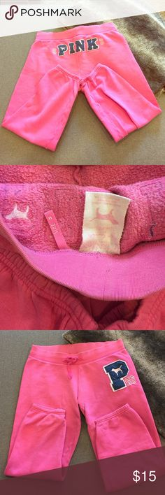 VS PINK pink and blue sweatpants. Size M Victoria Secret PINK sweatpants in size M. Worn only around the house a few times no rips or stains! A few pullies between the legs but really in good condition. Warm cozy fleece inside. Stretchy can fit a large. Selling very cheap or best offer 🎀 PINK Victoria's Secret Pants