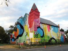 Abandoned Church Becomes Brilliant Urban Art Installation [ By Steph in Art & Street Art & Graffiti. ] A languishing, yellowed church in Washington D. Urbane Kunst, Colourful Buildings, Colorful Houses, Street Art Graffiti, Street Mural, Graffiti Murals, Art Club, Street Artists, Art Plastique
