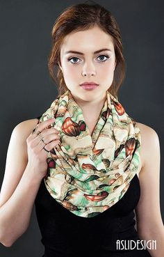 Victorian Air Balloons Pattern Infinity scarf Loop by Aslidesign
