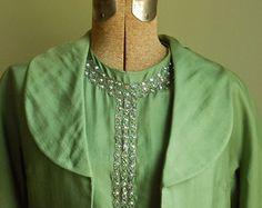 50s Silk Rhinestone Dress Samuel Grossman Vintage Women's Small Rhinestone Dress, Vintage Marketplace, 1960s, Vintage Ladies, Silk, Handmade, Etsy, Dresses, Fashion