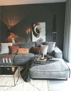 Stuuning Ideas Improve Your Living Room Lighting For Home Decor – Page 28 … - Warm home decor Dark Living Rooms, Living Room Decor Cozy, Mid Century Living Room, Living Room Lighting, Home Living Room, Apartment Living, Living Room Designs, Lounge Colour Schemes, Warm Home Decor