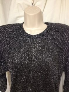 Black with Silver Sparkle Sweater Longer Length Sz Small Vintage Circa 80's Batwing Sleeves