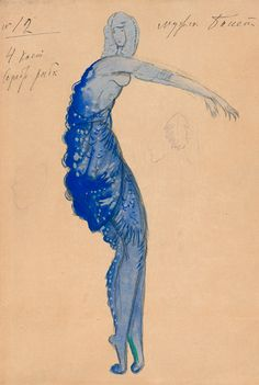 Costume design for Silver Fish in Sea Kingdom scene by Boris Anisfeld (1879-1973), 1911, Sadko.