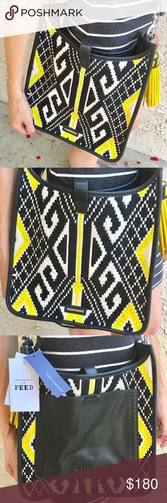 "✨HP✨ Rebecca Minkoff Feed Project Feed Crossbody 💛HP ~ Best In Bags 8/31🖤 Rebecca Minkoff Feed Project Feed Crossbody. Authentic Rebecca Minkoff one-of-a-kind bag made with high quality genuine leather. Black and yellow beautiful stitching hand woven by Artisans in India. Whipstitched leather highlight foil embossing, will wear over time which is the intended effect. 21"" leather removable and adjustable strap with matching yellow tassel. One interior lined pocket and one exterior pocket…"