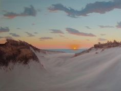 Painting of dunes and sunset over the beach in December. Jimenez Fine Art.