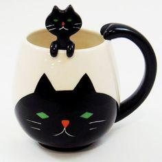 concombre black cat perfectly round mug & spoon set