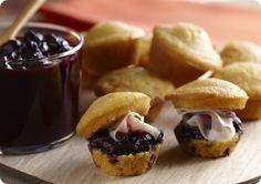 Driscoll's Corn Muffins with Blueberry Chutney and Prosciutto.   Driscolls.com