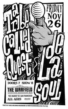 a tribe called quest / de la soul Tour Posters, Band Posters, Music Posters, Retro Posters, Festival Posters, Concert Posters, Gig Poster, A Tribe Called Quest, Hip Hop Art