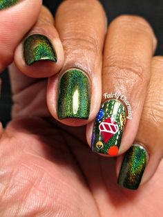 Fairly Charming: 12 Manis of Christmas: Ornaments! Xmas Nails, Holiday Nails, Christmas Nails, Christmas Ornaments, Cute Nails, Pretty Nails, Mani Pedi, Makeup Inspiration, Nail Art Designs