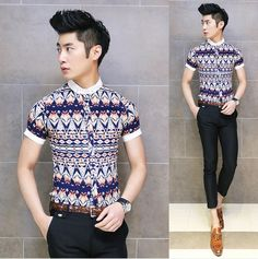 Trendy 2014 Tribal Print Cool Men Fashion Shirt Asian Men Slim Fit Shirts Casual Club Clothing $24.88 Club Outfits, Jean Outfits, Tribal Prints, Asian Men, Casual Shirts, Menswear, Mens Fashion, Formal, Tees