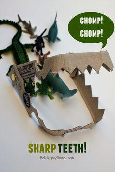 make shark, dinosaur, alligator, or crocodile teeth from an egg carton