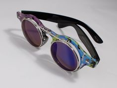 Womens Sunglasses Handpainted Abstract Design Custom Eyewear Round Flip Frame  #Unbranded #Round