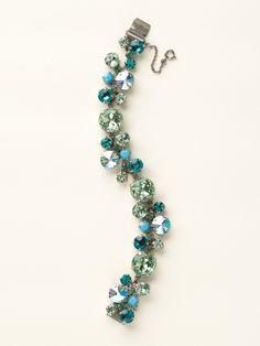 Circular Crystal Cluster Line Bracelet - Clearance in Sea Glass - Sorrelli