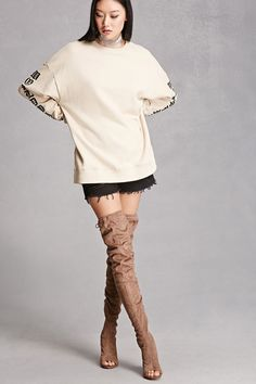 A pair of faux suede over-the-knee boots featuring an open toe design, a heel cutout, side zipper, a faux wooden heel, and a self-tie drawstring shaft. This is an independent brand and not a Forever 21 branded item.