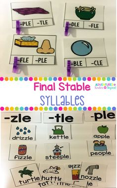 Students will have fun learning all about final stable syllables with these activities. Students will identify words that have the /-le/ sound using -ble, -cle, -dle, -fli, -gle, -kle, -ple, -tle and -zle.  This resource has 2 different activities. The first one is a picture sort. You can pick with-le ending you want to work with and sort the pictures in a pocket chart. The second activity is clip cards. Students will look at the picture and clip the final stable syllable for each card.